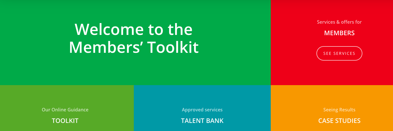 Image of the home screen of Toolkit